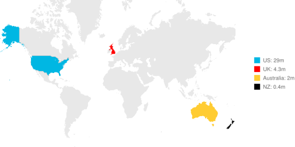 Map of the world showing the number of small businesses in Xero markets